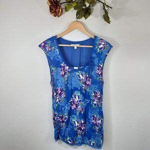 Candie's Blue Floral Top w/ Sheer Back Panel